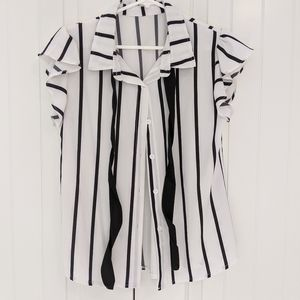 Striped Button Down Blouse w Ruffled Sleeves + Tie